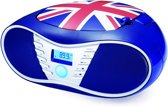 Bigben CD58GB Portable Radio/CD Speler Great Britain met USB - Rood, Blauw