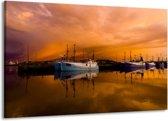 Canvas schilderij Boot   Bruin, Wit   140x90cm 1Luik