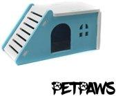 Petpaws - Houten huisje voor kleine knaagdieren - Blauw