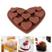 Siliconen Hart Chocoladevorm - Hartvorm Bakvorm - Mini Muffin / Cupcake Vormpjes - Bonbonvorm - 10 Hartjes