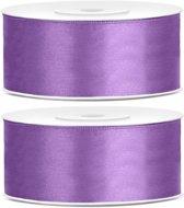 2x Satijn sierlint rollen lila paars 25 mm - Sierlinten - Cadeaulinten - Decoratielinten