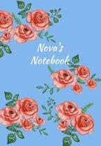 Nova's Notebook: Personalized Journal - Garden Flowers Pattern. Red Rose Blooms on Baby Blue Cover. Dot Grid Notebook for Notes, Journa