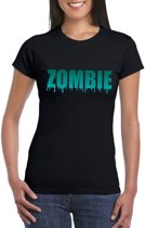 Halloween zombie tekst t-shirt zwart dames - Halloween kostuum XL