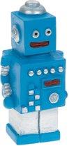 TOM beeldje robot 6 cm blauw/zilver