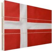 Close-up van de Deense vlag Vurenhout met planken 120x80 cm - Foto print op Hout (Wanddecoratie)
