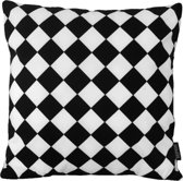 Black & White Checkers Kussenhoes   Katoen/Flanel   45 x 45 cm   Zwart-Wit