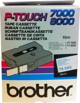 Brother Gloss Laminated Labelling Tape - 18mm, Blue/White