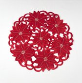 Kerst tafelkleed - Rood - opengewerkt - Bloemen - Rond 30 cm - 353R