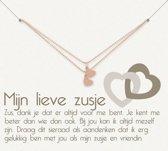 Simply Because Mijn lieve zusje! 2 Armbanden (roségoud, bedel klein hartje) 18-20 cm