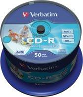 Verbatim 43309 CD-R AZO Wide Inkjet Printable Schijven- ID Branded - 50 Stuks / Spindel