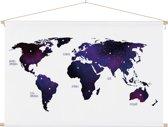 Wereldkaart voor aan de muur Schoolplaat Paars 90x60 cm platte latten - Wereldkaarten.nl