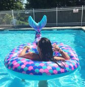 Zeemeermin staart opblaasbaar | inflatable mermaid pink purple blue | groot | Summer Fun | Water floating Row | Swim Ring | 180*110CM