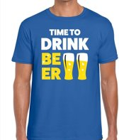 Time to drink Beer heren shirt blauw - Heren feest t-shirts M