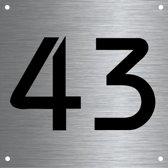 RVS huisnummer 12x12cm nummer 43