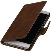 Bruin Hout booktype wallet cover hoesje voor Huawei P9 Plus
