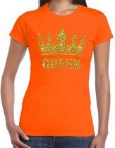 Oranje Koningsdag Queen shirt met gouden glitters en kroon dames 2XL