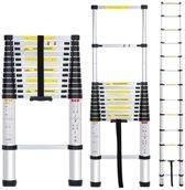 Uitklapbare Telescopische Ladder 3.80 meter - 1x13 sporten - Tot 150kg - Aluminium