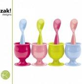 Zak!Designs Sorbet - Eierdop & Lepel - Set van 8 Stuks - Assorti