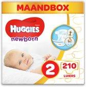 HUGGIES Newborn Maat 2 Luiers - 3 tot 6 kg - Maandbox - 210 stuks