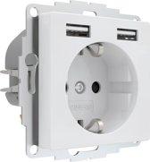 2USB inCharge PRO - USB stopcontact 12W/2.4A Glanzend Wit
