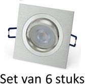 Dimbare Philips GU10 inbouwspot   5W   Zilver vierkant   Set van 6 stuks