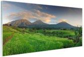 Rijstvelden en vulkanen Bali Glas 120x80 cm - Foto print op Glas (Plexiglas wanddecoratie)