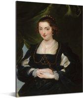 Portret van een jonge vrouw - Schilderij van Peter Paul Rubens Aluminium 120x160 cm - Foto print op Aluminium (metaal wanddecoratie) XXL / Groot formaat!