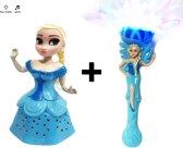 Prinsesjes set van 2 stuk - Prinsesje Elsa pop (dansen en zingen) + Prinsesje staf (kleurrijke verlichting met muziek) 2 pack -inclusief batterijen