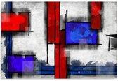 Schilderij - Vormen in rood en blauw, 1 deel