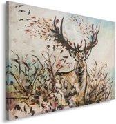 Schilderij - Hert, print van handgeschilderd doek