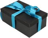 Zwart glitter cadeaudoosje 17 cm rechthoekig met turqoise blauw lint - kadodoosjes / cadeauverpakking