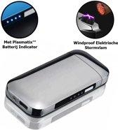Elektrische Aansteker - Plasma Aansteker - Edge - USB Oplaadbaar - Met Batterij Indicator- Zilver