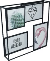 Fotoframe - Metaal - Zwart - Collage - 3x 10x15 / 1x 10x10cm