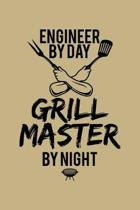 Engineer By Day Grill Master By Night: Blank 5x5 grid squared engineering graph paper journal to write in - quadrille coordinate notebook for math and