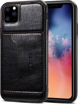 Let op type!! For iPhone 11 Pro Max Dibase TPU + PC + PU Crazy Horse Texture Protective Case with Holder & Card Slots(Black)