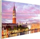 Zonsondergang Venetie Hout 120x80 cm - Foto print op Hout (Wanddecoratie)