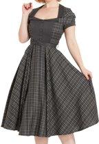 948409ae283680 Ella tartan jurk met wijd uitlopende rok grijs - Rockabilly Vintage Retro -  Voodoo Vixen