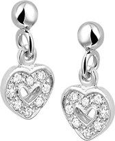 The Jewelry Collection Oorhangers Hart Zirkonia - Zilver Gerhodineerd