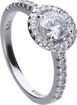 Diamonfire - Zilveren ring met steen Maat 17.5- Bridal - Zirkonia - Entourage - Vintage