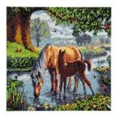 Diamond Painting Crystal Art Kit ®Fell Ponies, 30 x30 cm, Partial Painting
