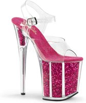 EU 36 = US 6 | FLAMINGO-808G | 8 Heel, 4 PF Ankle Strap Sandal w/Glitter-filled Bottom