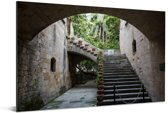 Trappen in de oude stad van Rhodos Aluminium 180x120 cm - Foto print op Aluminium (metaal wanddecoratie) XXL / Groot formaat!