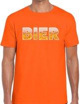 Bier tekst t-shirt oranje heren -  feest shirt Bier voor heren L