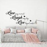 Muursticker Love Laugh Live -  Groen -  160 x 84 cm  - Muursticker4Sale