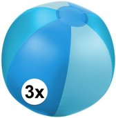 3x Opblaasbare strandbal blauw