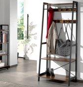 All-in-one Kapstok met 9 Haken en Schoenenrek – Staand Garderoberek – Metalen Frame / Hout – Vintage Bruin en Zwart