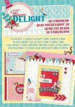 3D stansblok Studio Light,  Flower delight A4 formaat, 12 kaarten