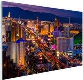 Las Vegas by night Glas 60x40 cm - Foto print op Glas (Plexiglas wanddecoratie)