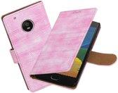 BestCases.nl Motorola Moto G5 Mini Slang booktype hoesje Roze