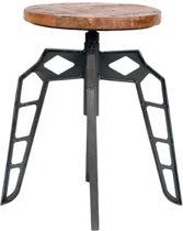 LABEL51 - Kruk Pebble Grijs - Metalen Onderstel - Mangohout - 35x35x52 cm